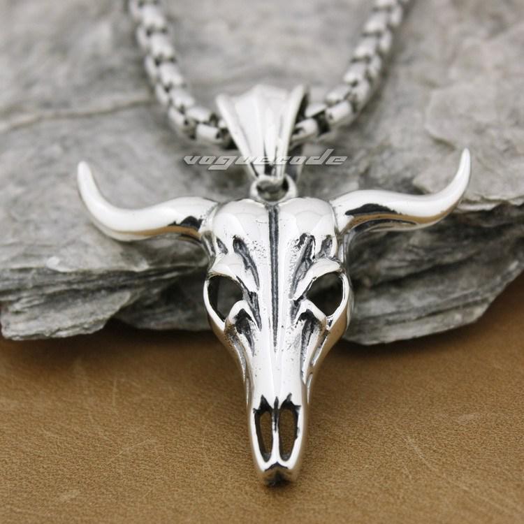 925 Sterling Silver Top Quality Charm Big Buffalo Skull Bull Horn Pendant 8B004B_#24 цена
