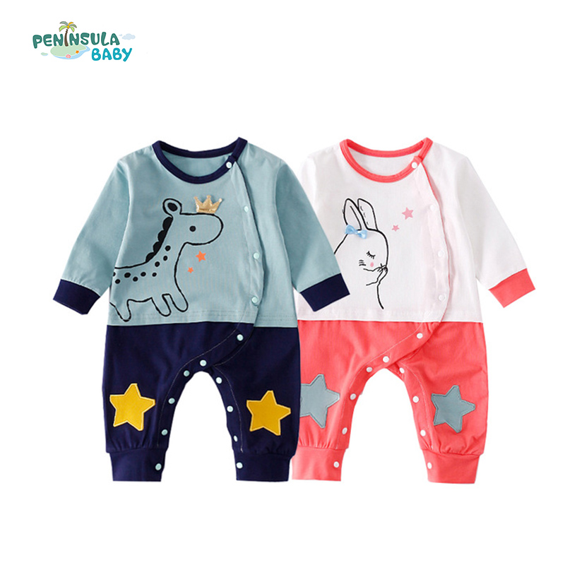 Cartoon Baby Rompers Animal Rabbit Horse Print Newborn Jumpsuit Long Sleeve Button Infant Jumpsuit Autumn Boys Girls Clothes