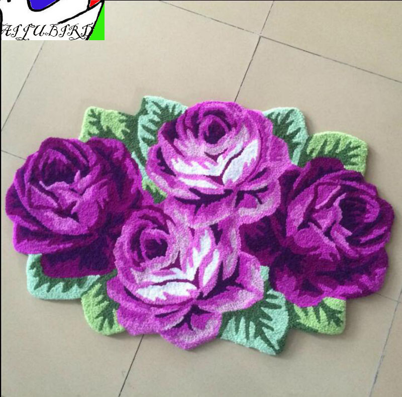 4 heteromorphic purple rose carpet irregular flower floor mat stair bedroom living room entry anti-slip warm pad home mat