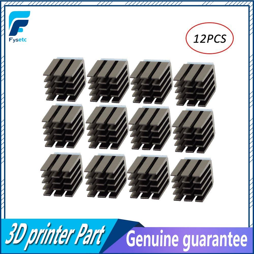 12pcs 3D Printer Parts Stepper Motor Driver Heat Sinks Cooling Heatsink Ultra-silent For TMC2100 A4988 DRV8825 TMC2208 TMC2130 heacent hs01 diy 3d printer parts a4988 a4982 stepper motor driver heat sinks black 10 pcs