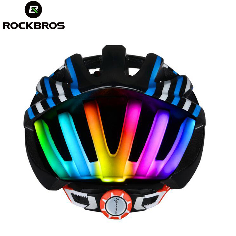 ROCKBROS Bike Helmet With Colorful Back Light Ultralight Women Men MTB Road Bicycle Helmet Night Cycling Accessories K6107 universal bike bicycle motorcycle helmet mount accessories