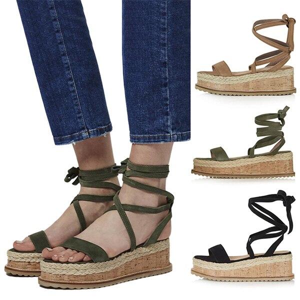 fc5ec073987c1 2018 New Fashion Women Flat Wedge Espadrille Sandals Lace Tie Up Platform  Summer Beach Shoes BS88