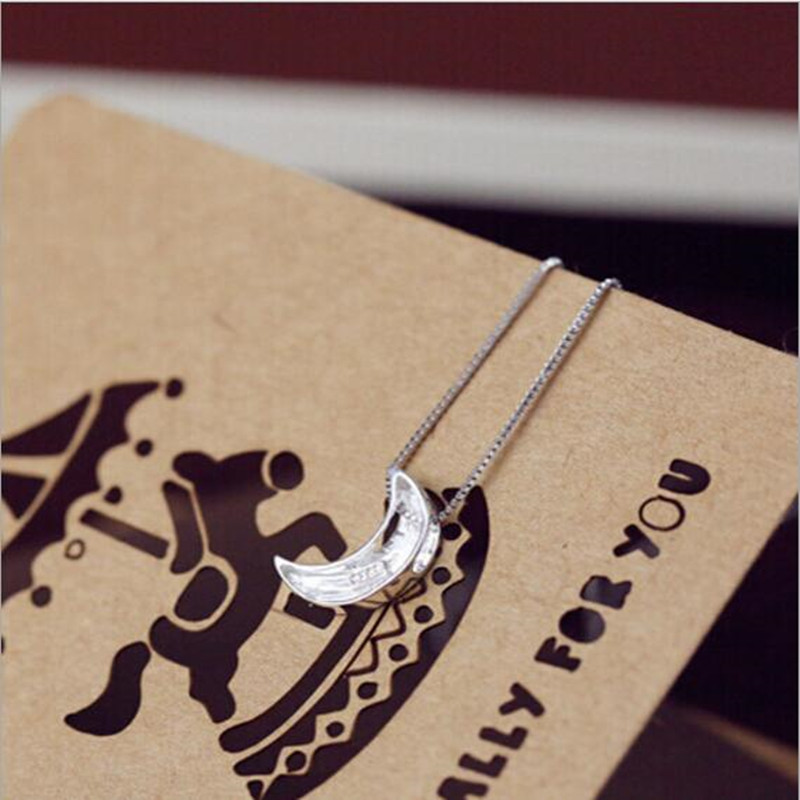 925 Sterling Silver Jewelry Fashion Aesthetic Exquisite Frosting Crescent Moon Female Not Allergy Pendant Necklaces  H47