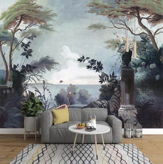 European Hand-painted Retro Retro Garden Rainforest Mural TV Background Wall Custom Wallpaper Mural