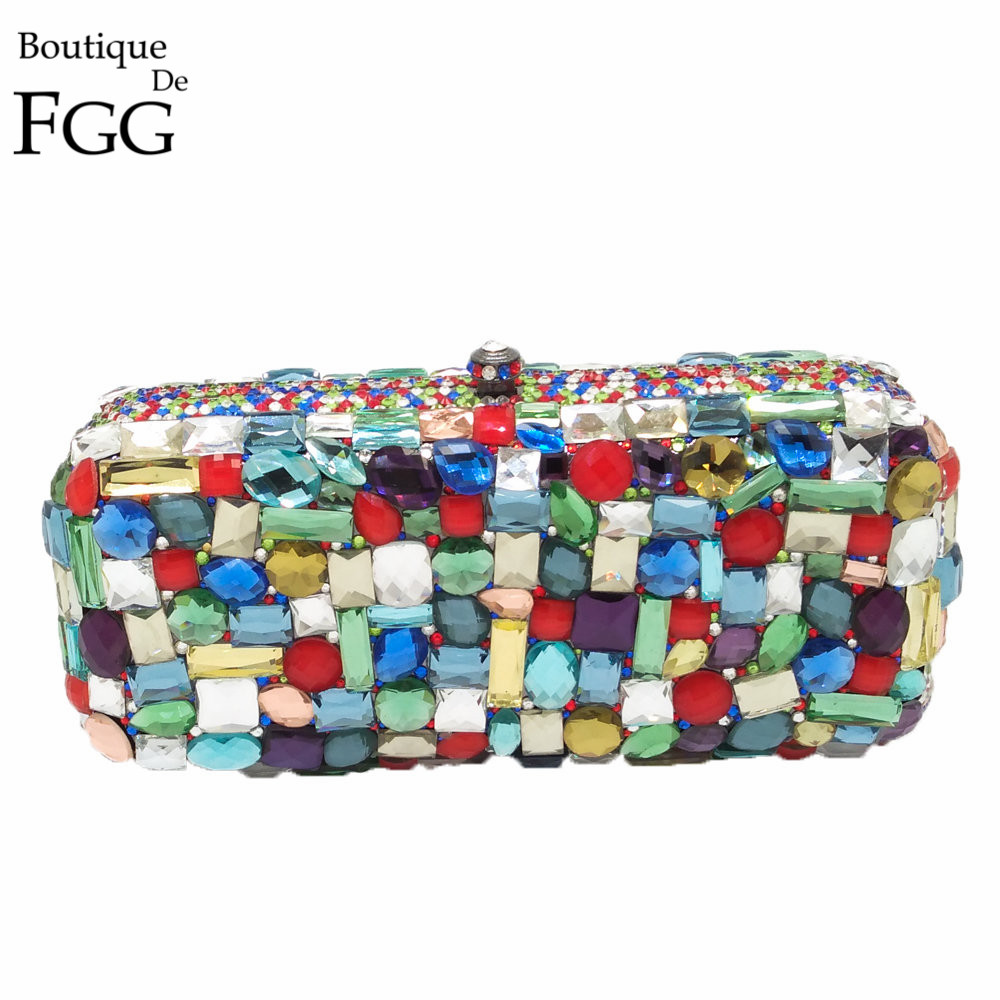 Boutique De FGG Multi-Color Diamond Crystal Evening Purse Women Metal Minaudiere Clutches Bag Bridal Clutch Wedding Handbag купить в Москве 2019