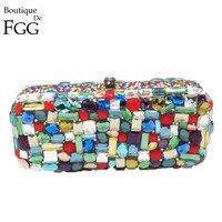 Boutique De FGG Multi Color Diamond Crystal Evening Purse Women Metal Minaudiere Clutches Bag Bridal Clutch Wedding Handbag