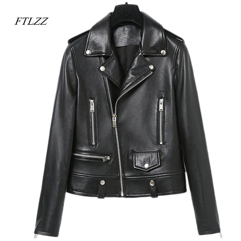 Ftlzz Spring Autumn Faux Leather Motorcycle Jacket Women -8389
