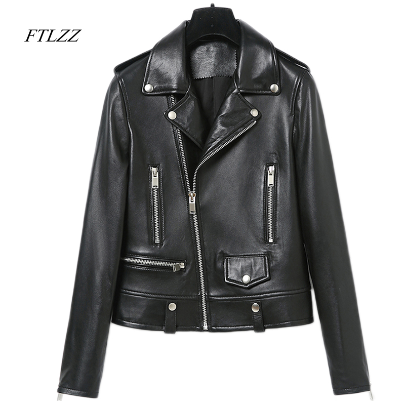 Ftlzz Spring Autumn Faux   Leather   Motorcycle Jacket Women 2017 Zipper Coat Vintage Long Sleeve Soft Black   Leather   Jackets