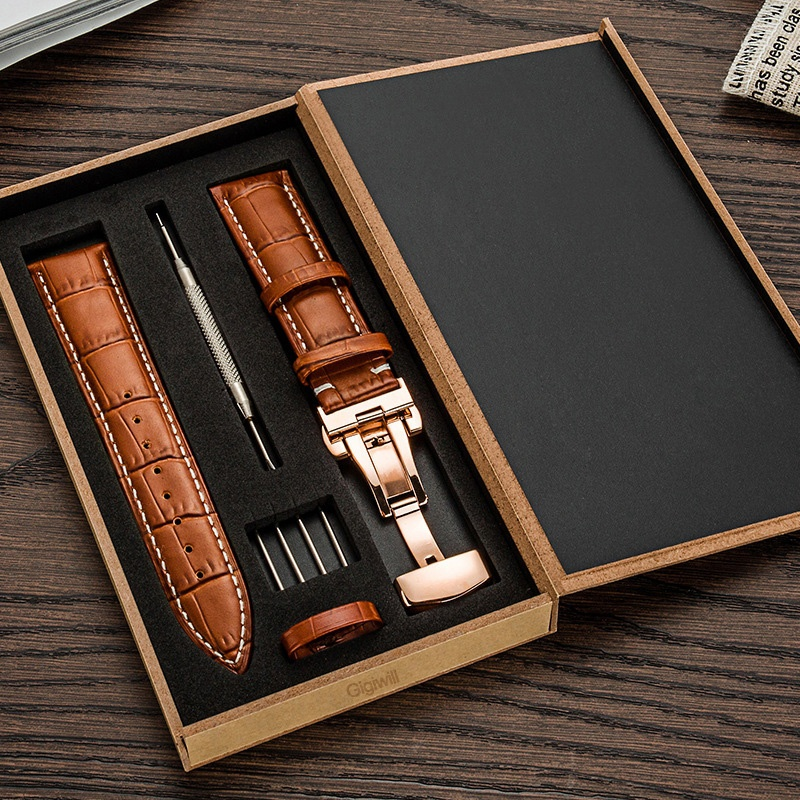 Full-grains Calf Leather Watch Band Strap Double Click Butterfly Clasp Buckle Watch Accessories Replacement 16mm 18mm 20mm 22mm цена
