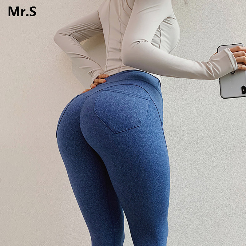 Blue Energetic Sports Leggings High Waist Butt Pocket Yoga Pants Sexy Scrunch Butt Fitness Leggin Push Up Workout Running Tights
