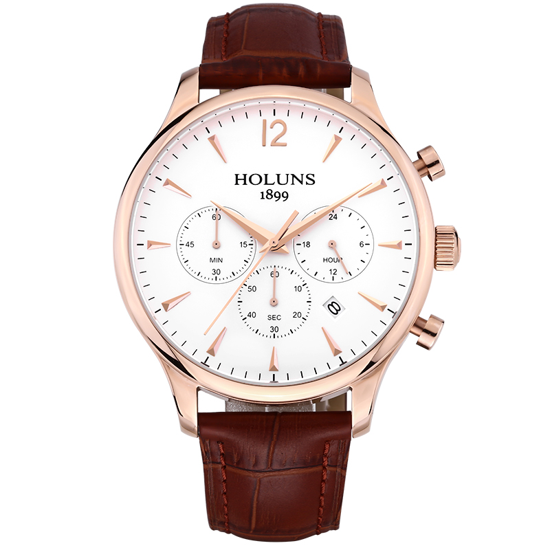quartz wristwatch mens watches top brand luxury rose gold quartz leather strap watch 22 mm waterproof