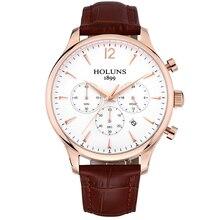 Reloj de pulsera de cuarzo para hombre relojes de primeras marcas de lujo de oro rosa reloj de cuarzo correa de cuero 22mm impermeable Del Deporte Relojes de Pulsera para hombres