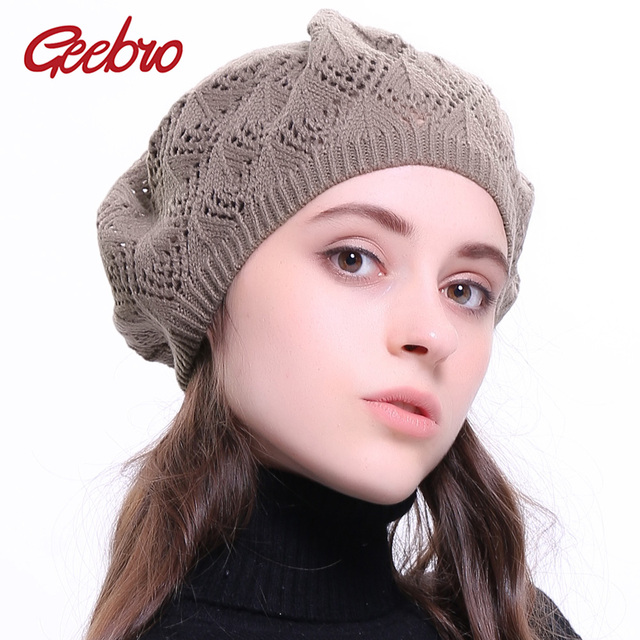 abd6471407ab1 Geebro Women s Plain Color Knit Beret Hat Spring Casual Thin Acrylic Berets  for Women Ladies French Artist Beanie Beret Hats