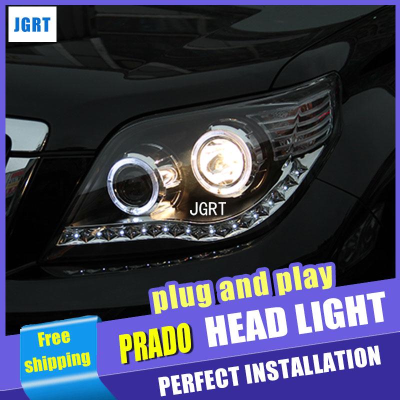 For Toyota PRADO Headlights Prado F150 LED Headlight angel eye led drl H7 hid kit low beam Bi-Xenon Lens hireno headlamp for 2011 2015 toyota fortuner headlight assembly led drl angel lens double beam hid xenon 2pcs