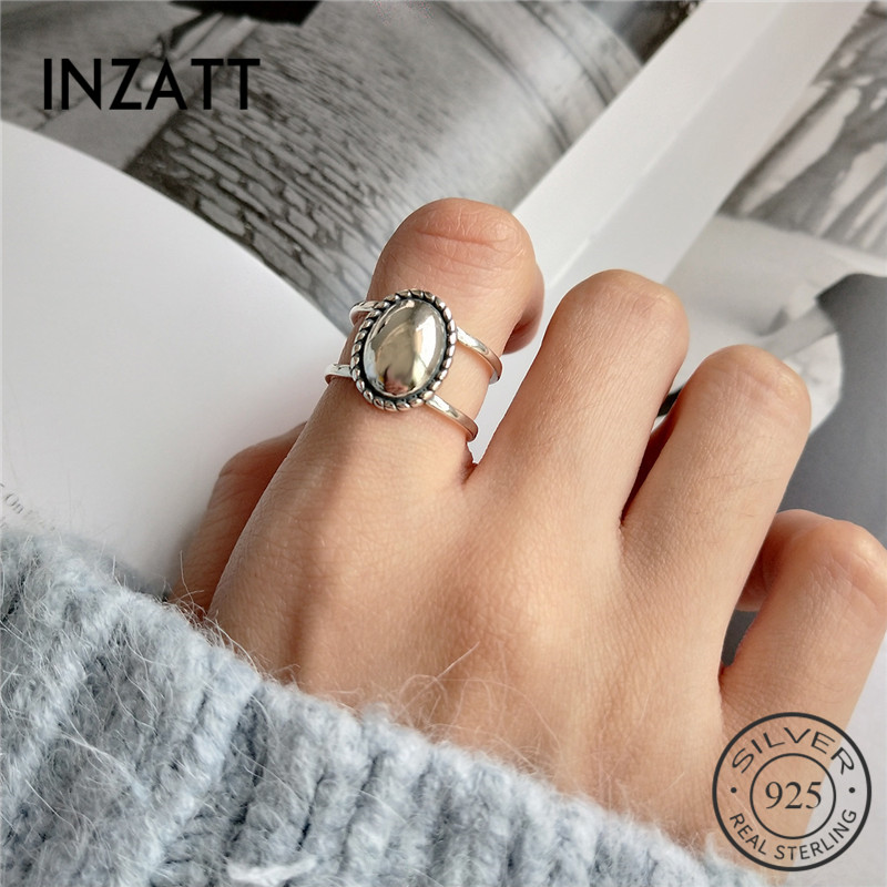 INZATT Real 925 Sterling Silver Minimalist Vintage Matte Oval Openwork Ring For Fashion Women 2018 Fine Jewelry Accessories Gift