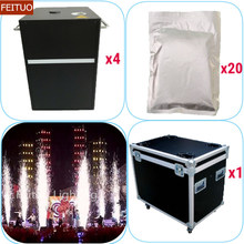 4pcs+flycase+20 Bags Powder Pyrotechnics Machine 400w Safety Powercon Wedding Stage Show Cold Fireworks Fountain Spark Machine(China)