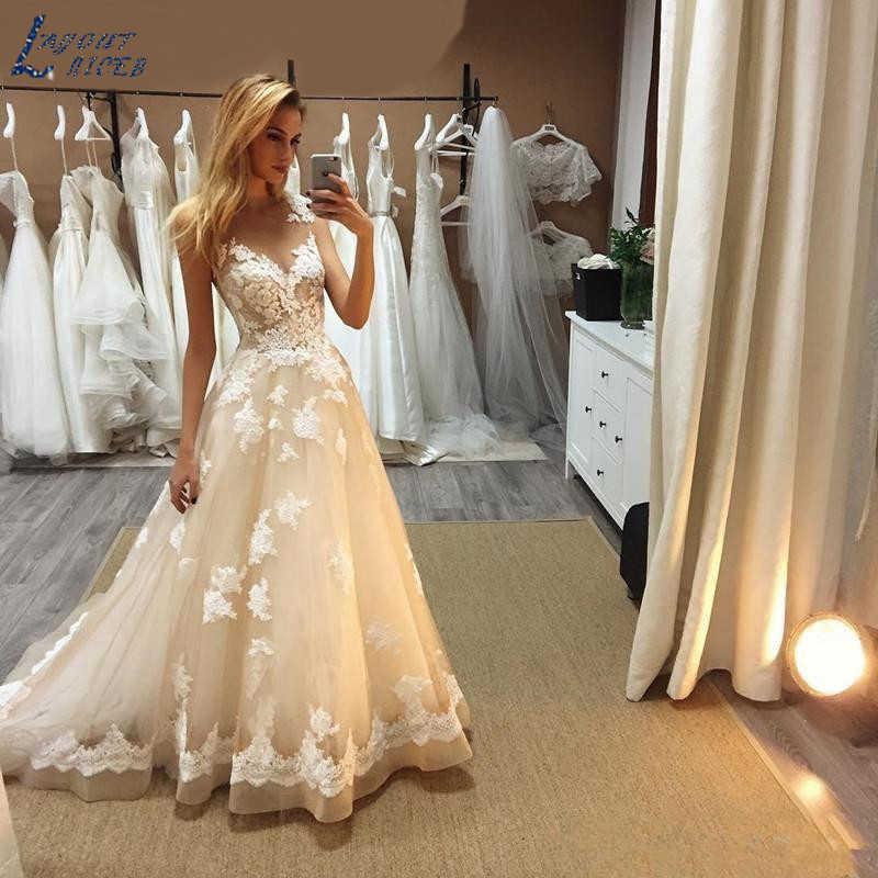 Edu0510 novo designer de qualidade superior simples a linha vestidos de casamento lindo popular vestido longo vestidos de noiva