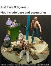 Modèle en résine la nuit des Zombies mangeant lhomme, 3 figurines, kit Miniature gk, non peint, 1/35