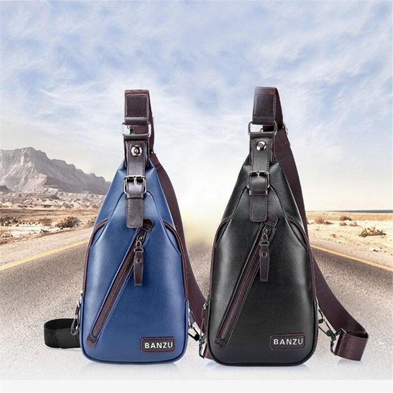 New Casual Crossbody Bag Shoulder Sport PU Bags Chest Waist Pack Men Theftproof Open Chest Bags