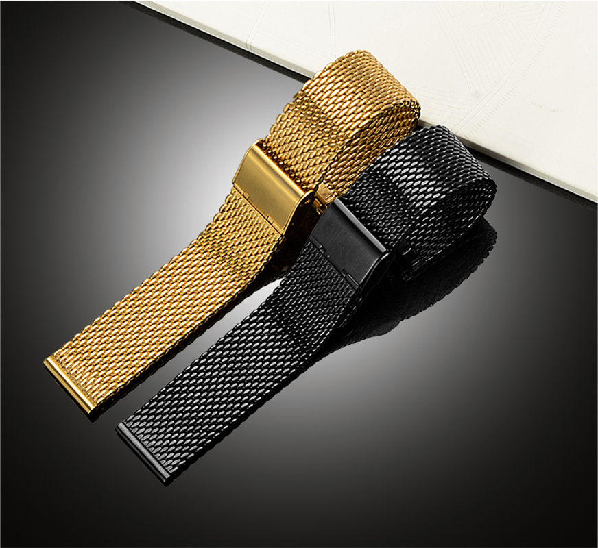 Nibos High Quality stainless steel strap watch 22mm for men women watches mesh band Folding Clasp with Safety Watch Strap 20mm forsining golden stainless steel sport watch steampunk men watch luminous openwork mechanical watches folding clasp with safety