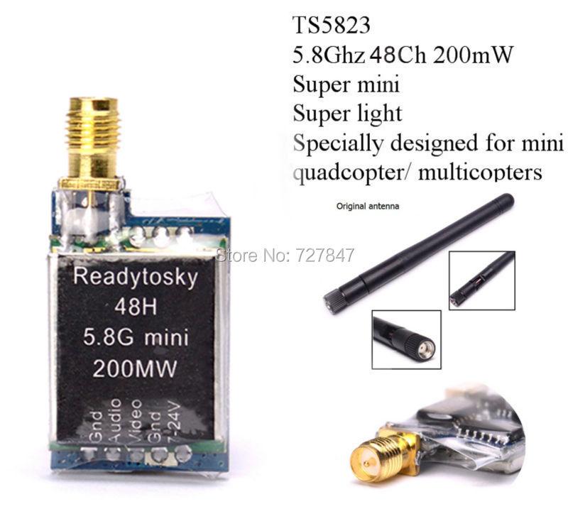 TS5823 Mini FPV Tx Only 7.3g 5.8Ghz 48Ch 200mW AV Transmitter Module (TX) TS5823/ RP-SMA realacc gx210 5 8g 40ch 200mw mini av vtx fpv transmitter rp sma