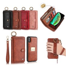 14 Card Slots Wallets Phone Case with 3 Purses Zipper Leather Hangbag Shell Magnet Back Cover for iPhone 7 8 7p 8p X XR XS MAX