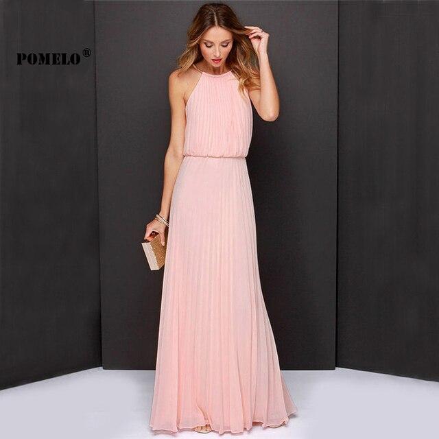 POMELO Vestidos De Festa Woman Clothes 2015 Solid Pink Sleeveless ...