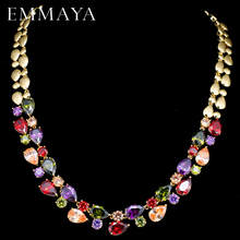 EMMAYA Stunning Big Carat Round CZ Crystal Necklace Luxury Bridal Party Jewelry For Wedding Evening