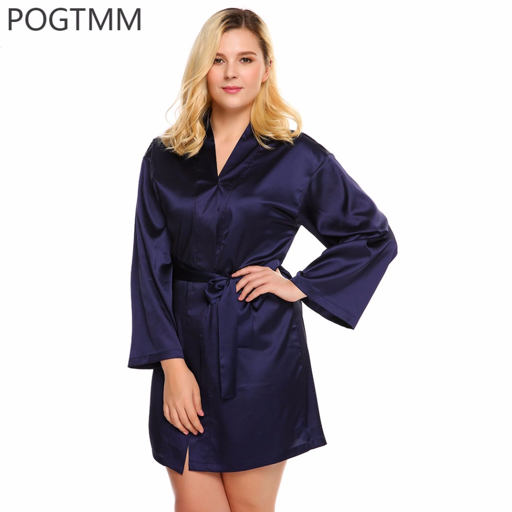 4XL Large Size Sexy Satin Sleepwear Dressing Gown Women Long Sleeve Kimono Bathrobe Belt Bath Robe Home Clothing Peignoir Femme