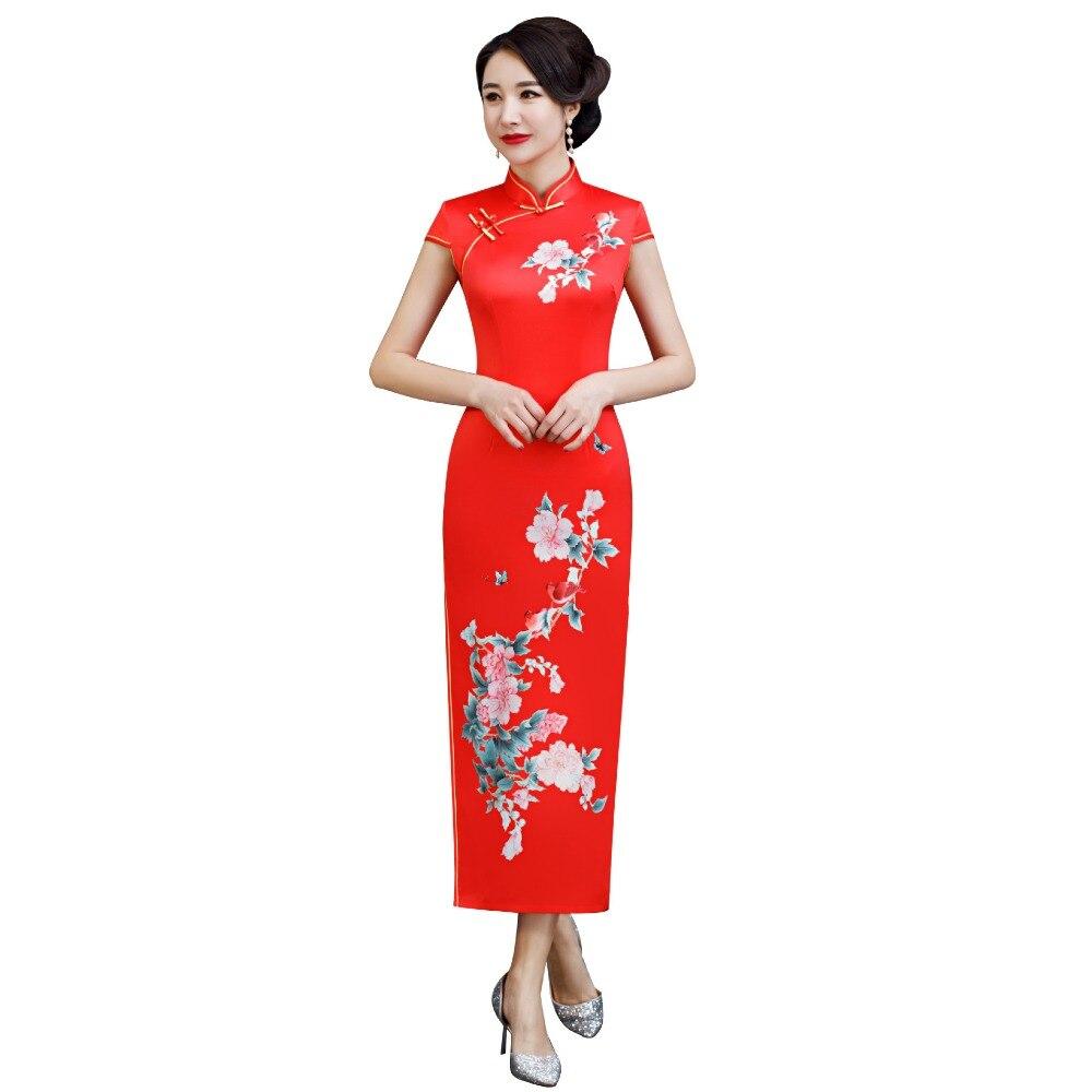 New Arrival Plus Size XXXXXL Chinese Women's Elegant Long Qipao Printed Lady Qipao Silm Dress Cheongsam Sexy Dress Clothing