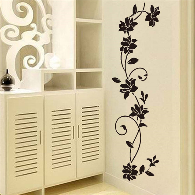 black flower vine wall stickers refrigerator window cupboard home decoration diy home decals art mural posters - Cupboard Decoration