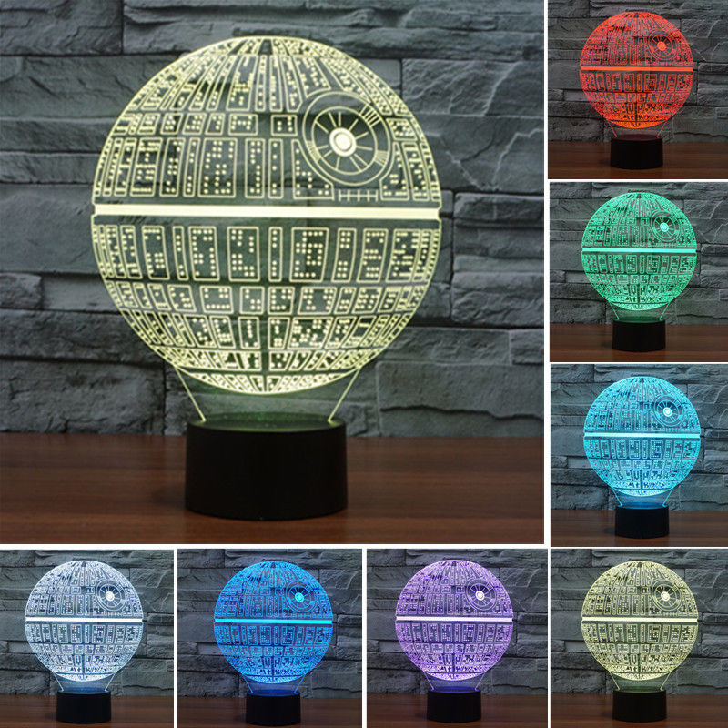 cheap 2016 New 3D Star Wars Death Star Led Night Light 7 Color Change Mood Lamp Touch Switch Lava Lamp Table Desk Lamp Light pic,image LED lamps offers