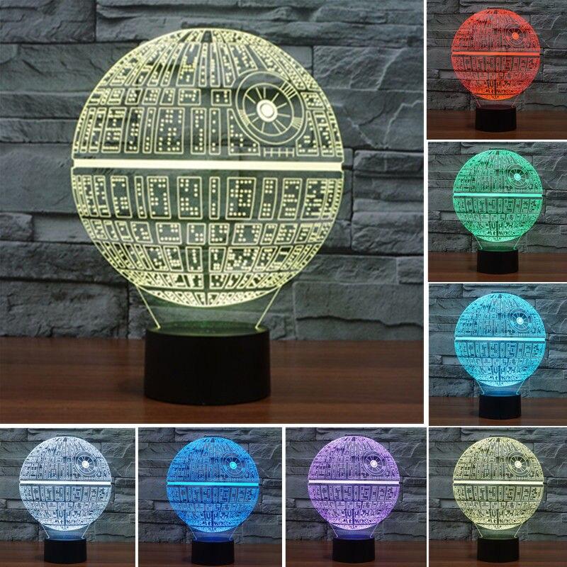3d Star Wars Death Star Led Night Light 7 Color Change