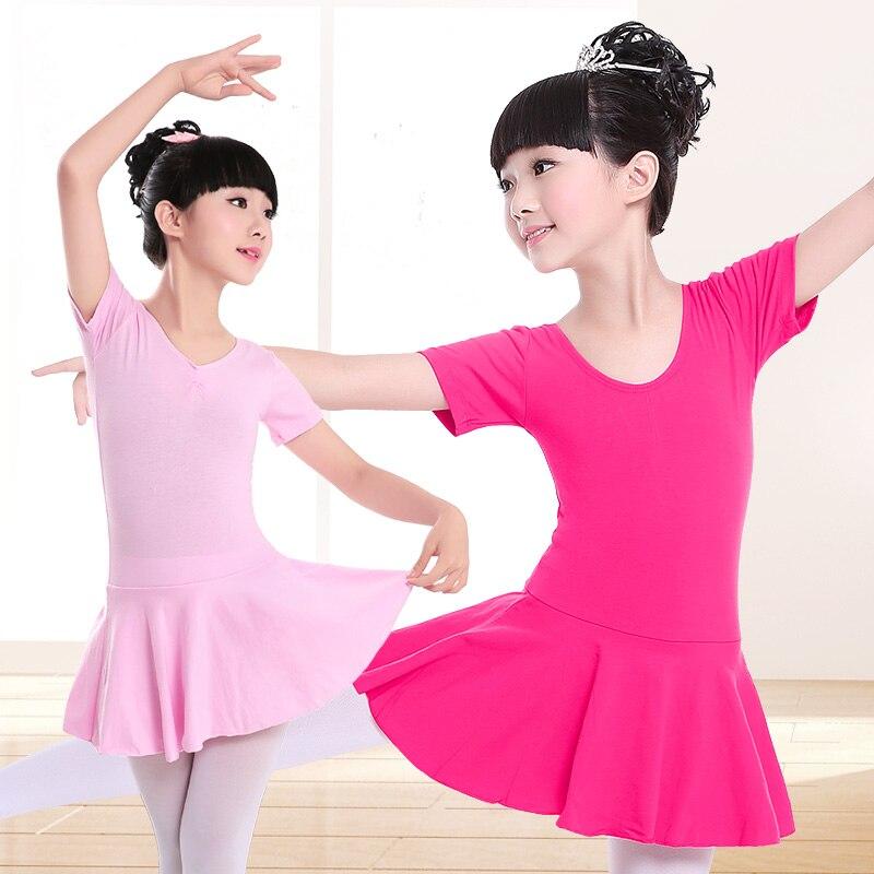 Children Cotton Gymnastics Leotard Ballet Dress Kids Short Sleeve Dance Leotard Tutu Dance Wear Ballerina Clothes For Girls