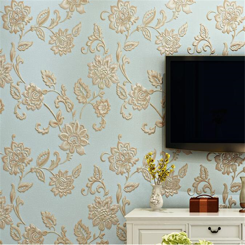 beibehang 3D three-dimensional non-woven papel de parede wallpaper fresh romantic pastoral flower wallpaper living room backdrop
