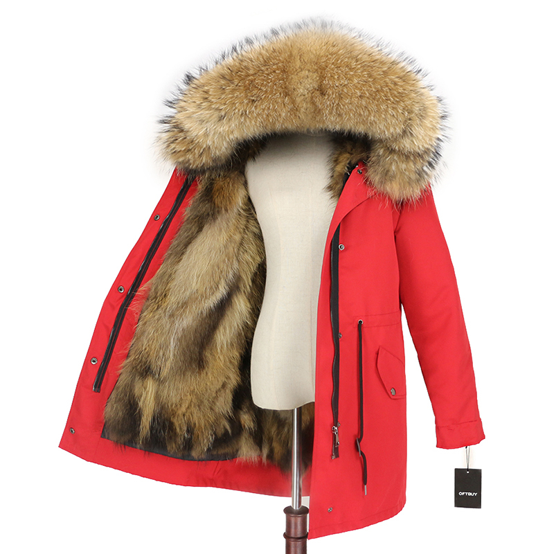 OFTBUY 2019 Real Fox Fur Coat Women Parka Winter Jacket Natural Raccoon Fur Trim Hood Long Outwear Detachable Waterproof Luxury