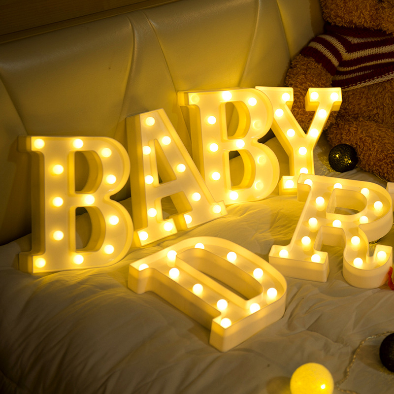 Luminous LED Letter Night Light Creative 26 English Alphabet Digital Battery Lamp Romantic Wedding Party Decoration Christmas