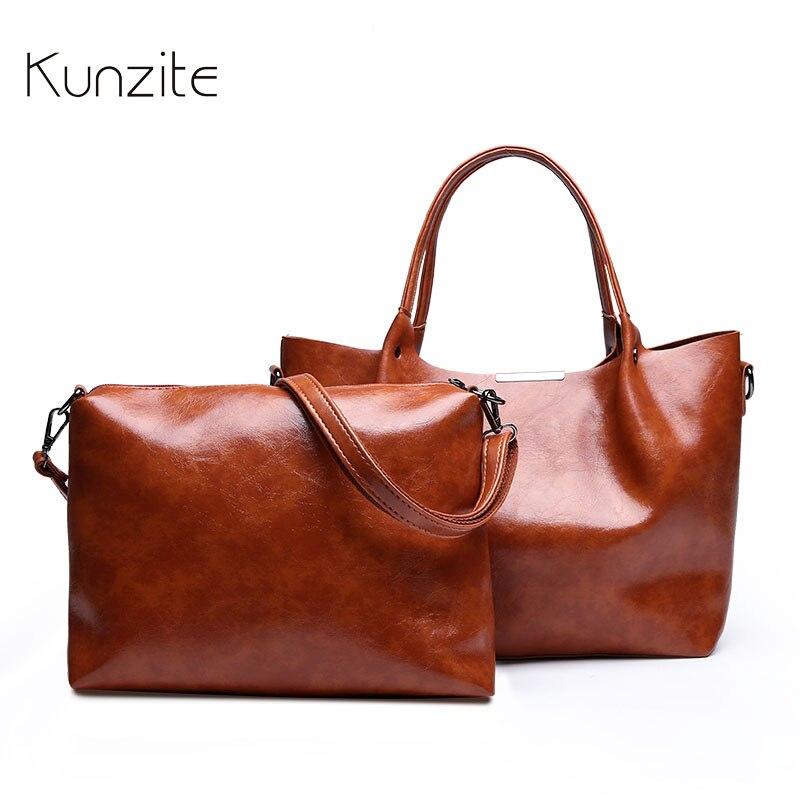 KUNZITE Leather Handbags Big Women Bag High Quality Casual Female Bags Trunk Tote Spanish Brand Shoulder