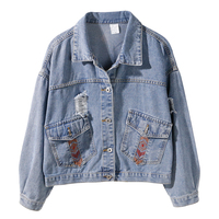 Loose Long Sleeve Women Basic Coat High Quality Embroidery Cotton Denim Jackets Plus Size Women's Coats Harajuku Jeans Jacket