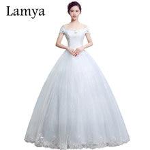 LAMYA 2019 Cheap Lace Boat Neck Wedding Dress Princess Plus Size Bride Dresses Real Photo Vestido De Novia