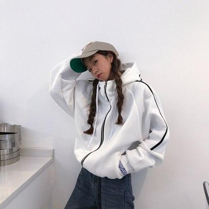 Zipper Hoodies vêtements d'extérieur 2018 nouvelles femmes Sweatshirts Choker Zip vêtements Feminina lâche décontracté manteau chaud veste BF outwe