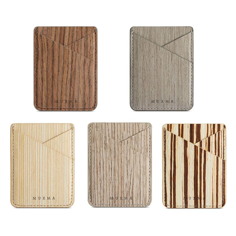 Fashion New Men Women Unisex Wood Pattern Credit Card Holder Cell Phone Wallet Pocket Sticker Adhesive Pouch Case 5 Styles