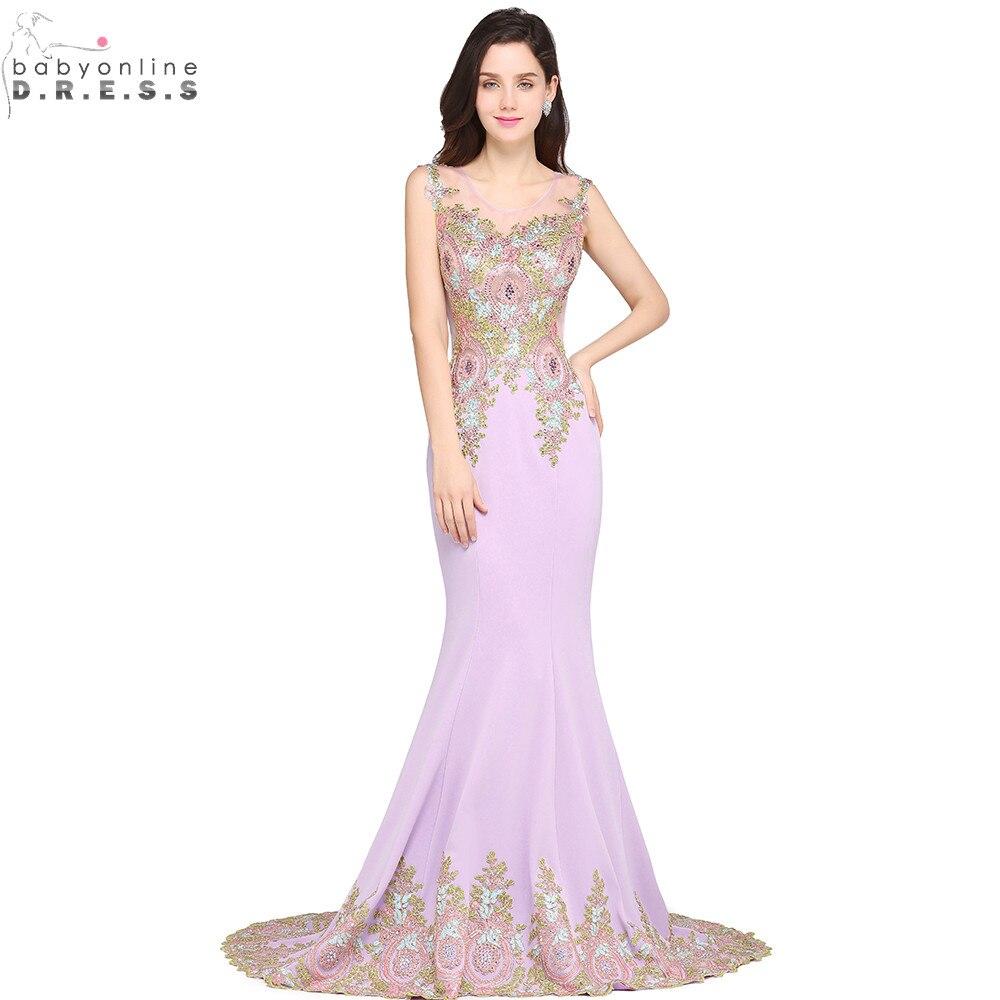 Vestido de Festa Luxury Beaded Lace Lavender Mermaid Long   Evening     Dress   Sexy Sheer Back   Evening   Gown Robe de Soiree Longue
