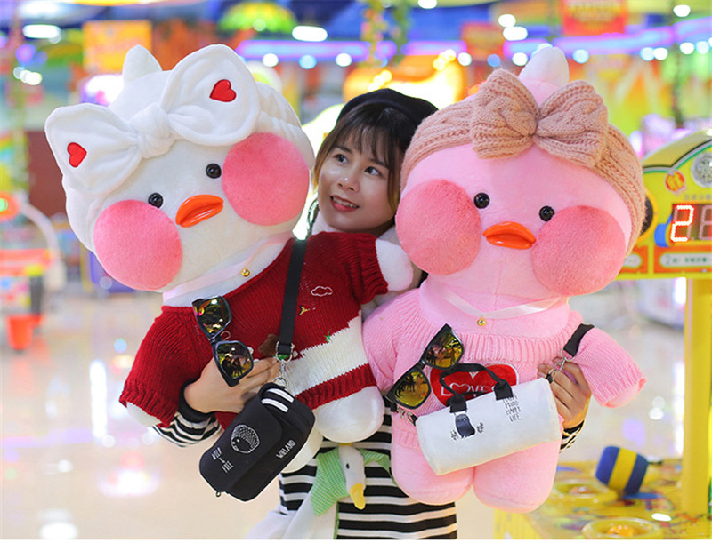 80cm Lalafanfan Plush Stuffed Toys Doll Kawaii Cafe Mimi Yellow Duck lol Change Clothes Plush Toys Girls Gifts Toys for Children 17