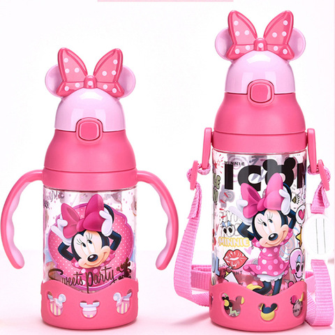 350-500ML Disney Baby Straw Bottle Water Cup Boys Girls Learning Drink Water Strap Handle Cute Babies Baby Mickey Minnie Cup Islamabad