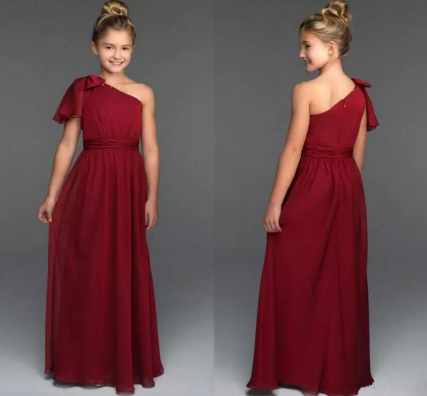 Burgundy Pleated 2018 Flower Girl Dresses One Shoulder Floor Length Zipper Back Princess Flower Girl Dress pleated cami knee length dress