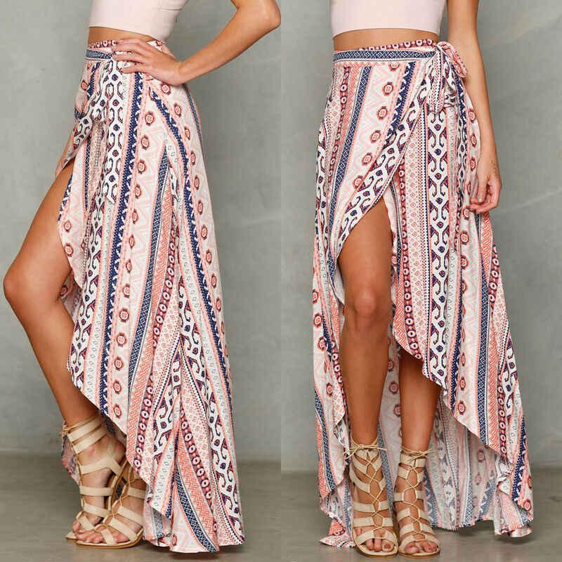 חדש סגנון נשים גבירותיי חצאיות סדק ארוך הדפסת חצאית קיץ חוף שמש גבוהה מותן תחבושת סדיר קיץ מזדמן אופנה חמה 2019