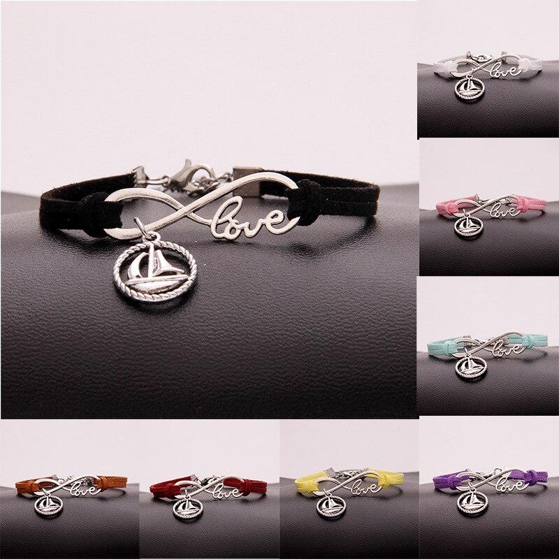 Hot Sale Ancient Silver Sailboat Infinity Love Charm Hand-woven Korean Velvet Rope Bracelet Wrap Leather Fashion Women Jewelry