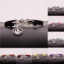 Hot Sale Ancient Silver Sailboat Infinity Love Charm Hand-woven Korean Velvet Rope Bracelet Wrap Leather Fashion Women Jewelry european american style ancient silver football sports charm pendant infinity love weaving bracelet women jewelry holiday gift