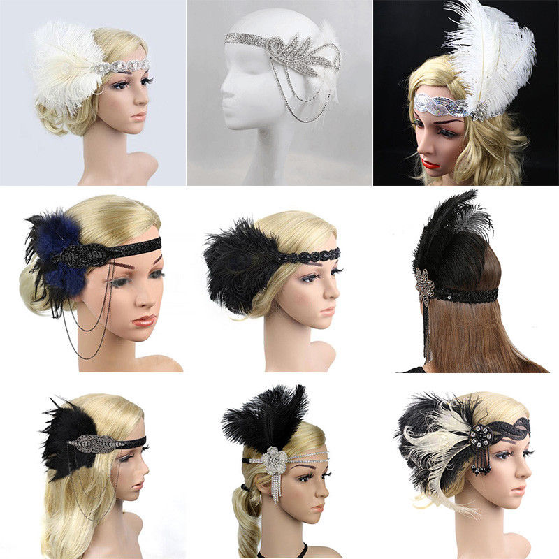 Retro Feather 1920s Flapper Headpiece Headband Great Gatsby Hairband Fancy Halloween Dress Hairband
